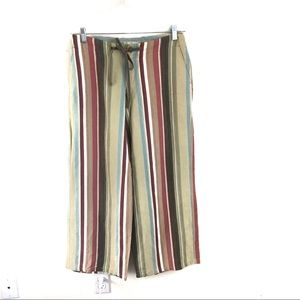 Tommy Bahama Striped Silk Linen Wide Leg Pants